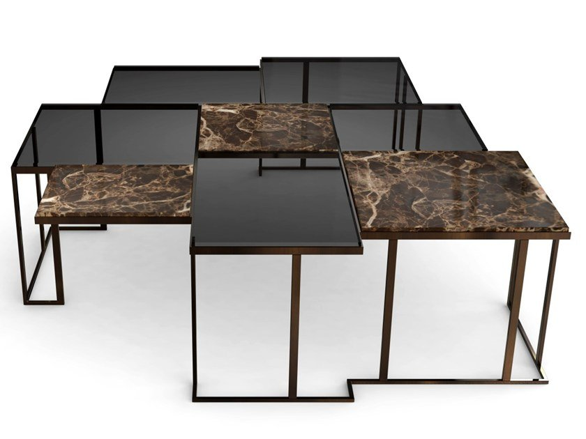 Glass and marble coffee table for living room SQUARE by Porustudio
