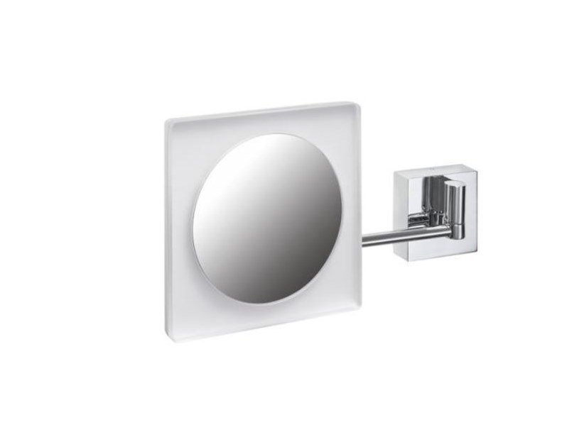 Double-sided square shaving mirror with integrated lighting Square shaving mirror by HEWI