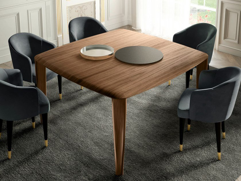 Square walnut table THIN | Square table by EXENZA
