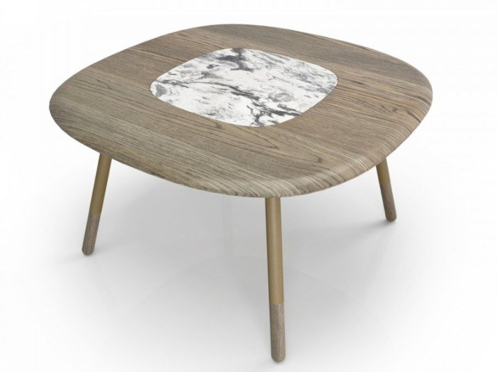 Square oak and natural stone dining table KOVAL | Square table by Huppé