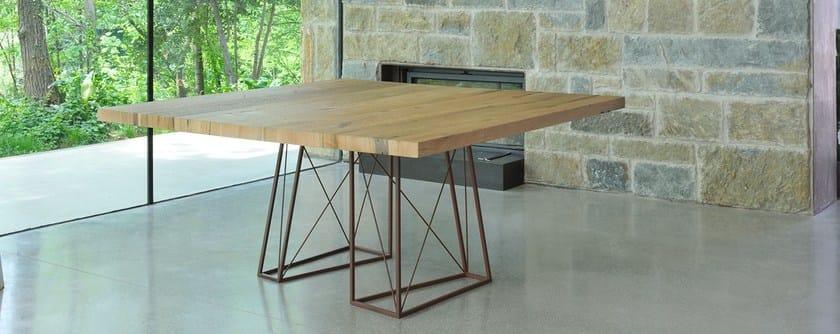 Square briccola wood table ROXY | Square table by Italy Dream Design