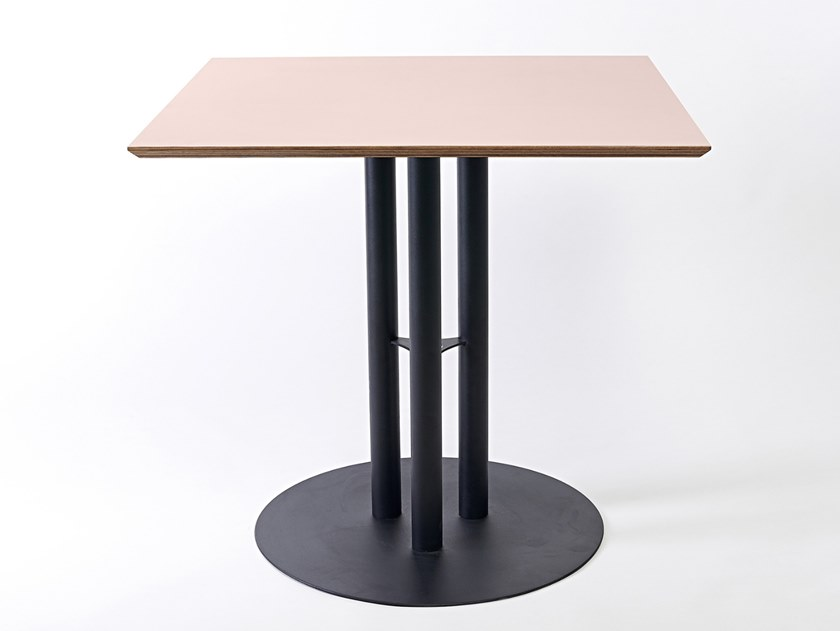 Lacquered square steel and wood table CHAILLOT | Square table by Specimen Editions