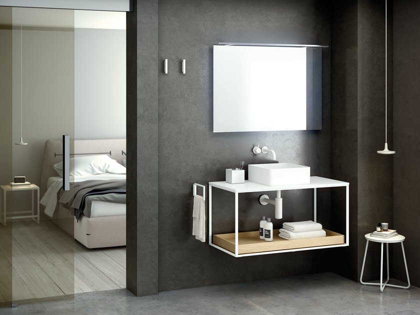 Wall-mounted vanity unit THE GRID EVO | Square washbasin by Cosmic
