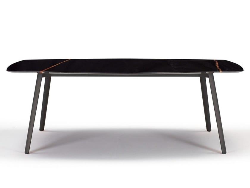 Hexagonal die cast aluminium and Sahara Noir marble table SQUID M   Hexagonal table by SCAB DESIGN