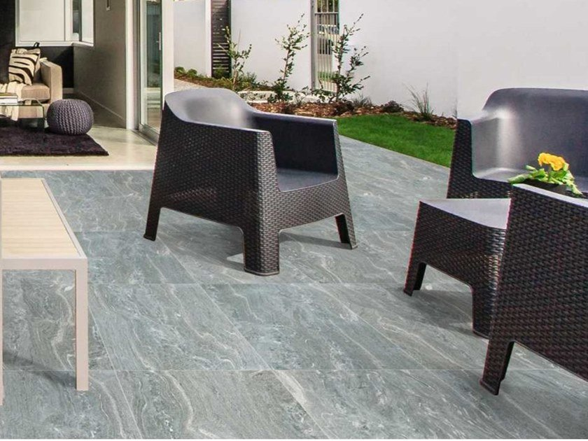 Porcelain stoneware outdoor floor tiles with marble effect ST. MORITZ by MVB