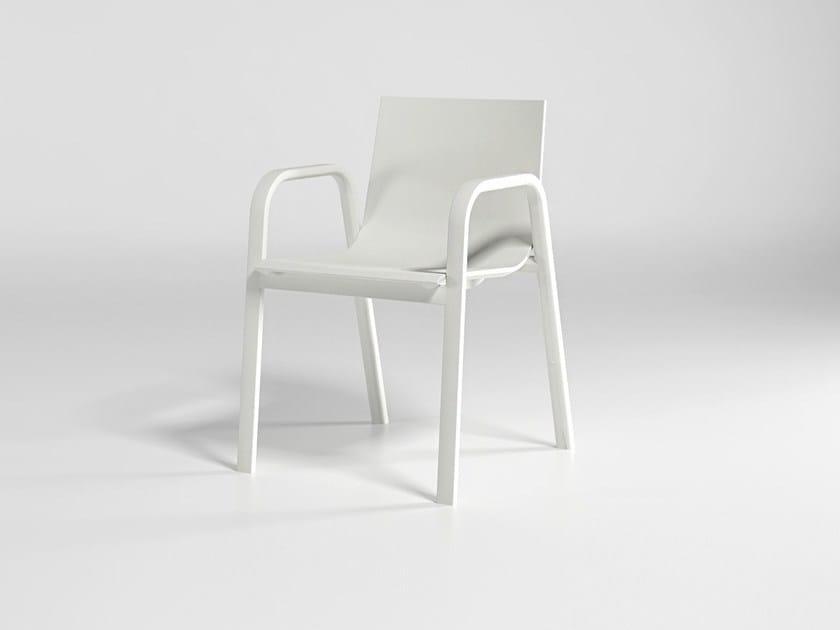 Polyurethane garden chair with armrests STACK CHAIR 3 by GANDIA BLASCO