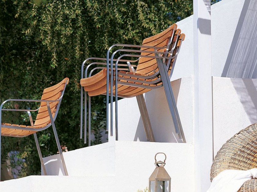 Stackable garden chair with armrests EQUINOX | Stackable chair by Unopiù