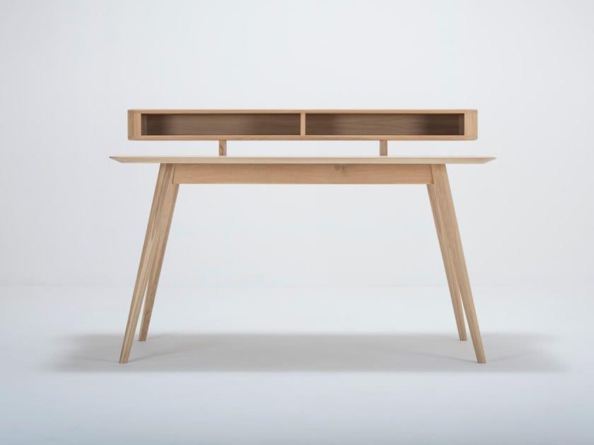 Rectangular oak writing desk with bookcase STAFA   Writing desk with bookcase by Gazzda