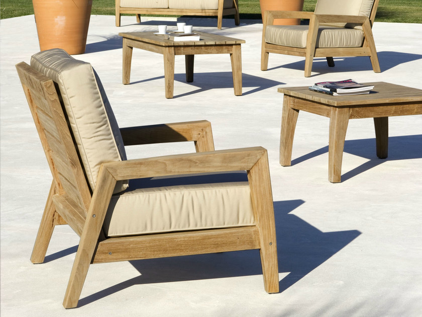 Fabric garden armchair with armrests STAFFORD | Garden armchair by Les jardins