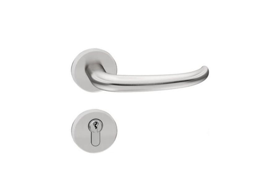 Stainless steel door handle on rose RANGE 170 | Stainless steel door handle by HEWI