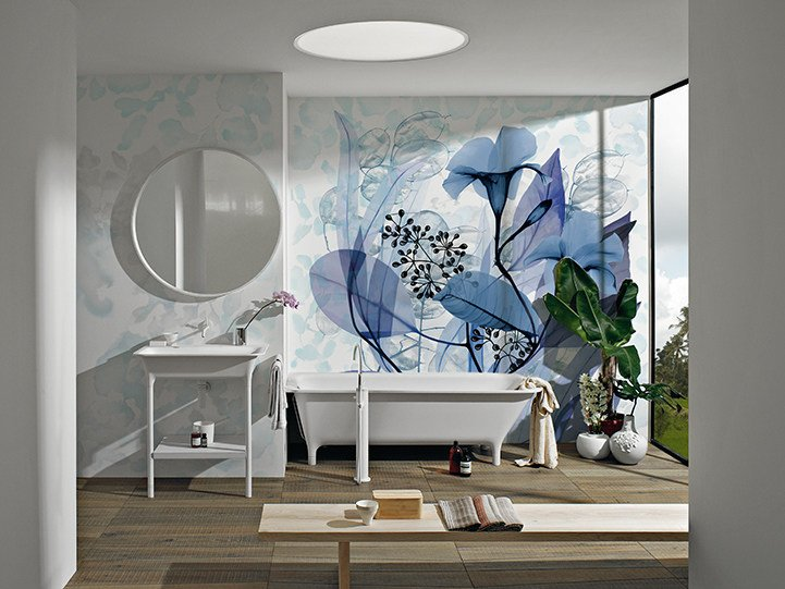 Panoramic wallpaper with floral pattern STAME by Inkiostro Bianco