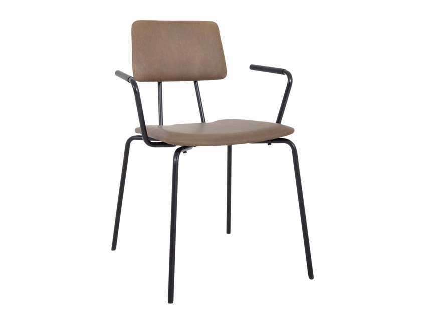 Upholstered leather chair with armrests STAN | Upholstered chair by KFF