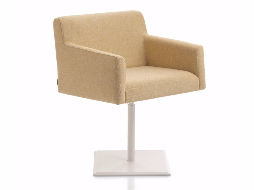 Upholstered fabric easy chair with armrests STAND BY | Trestle-based easy chair by Emmegi