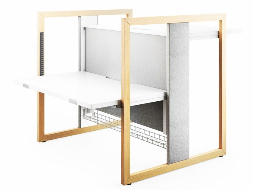 Height-adjustable office workstation with sound absorbing screens STAND UP R by Mikomax Smart Office
