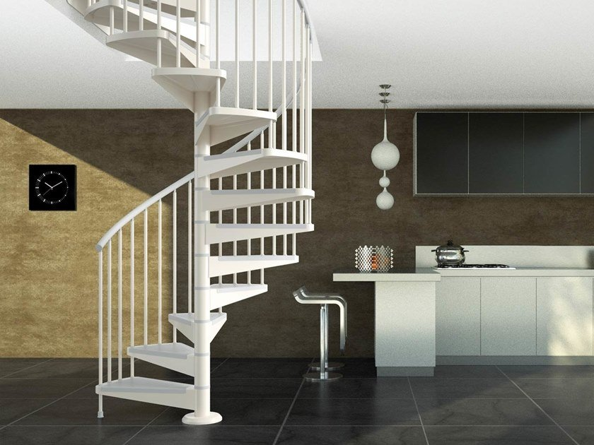 Modular steel Spiral staircase STAR 04 by MOBIROLO