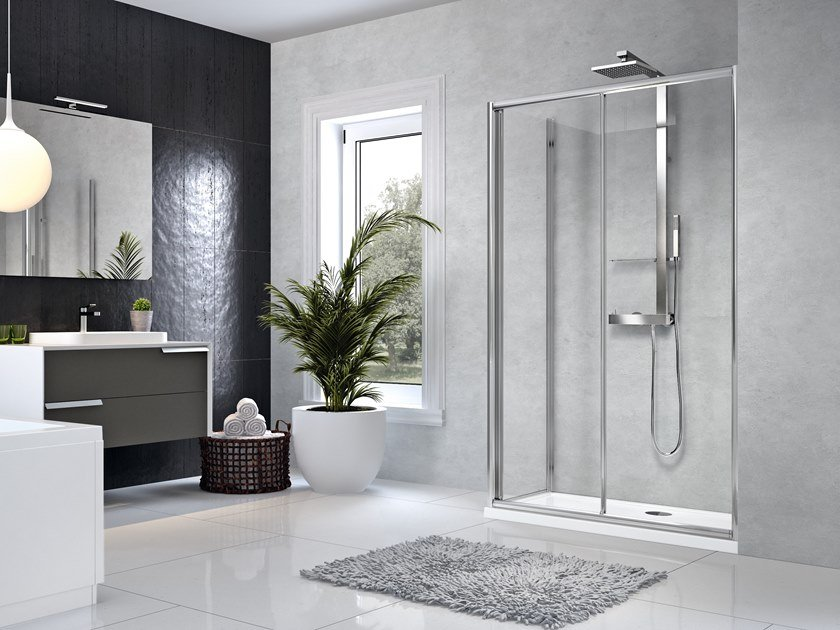 Corner shower cabin with sliding door STAR 2P+F by NOVELLINI