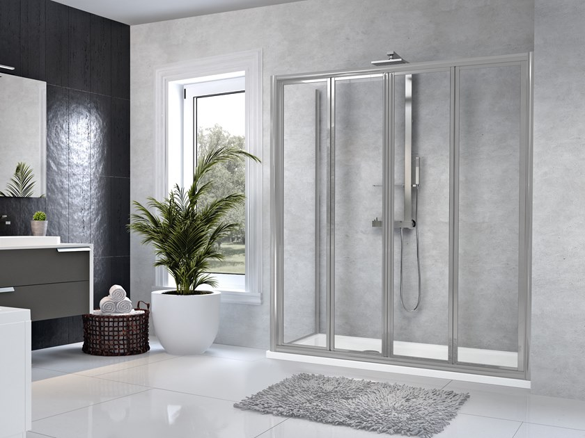 Corner shower cabin with folding door STAR 2S+F by NOVELLINI