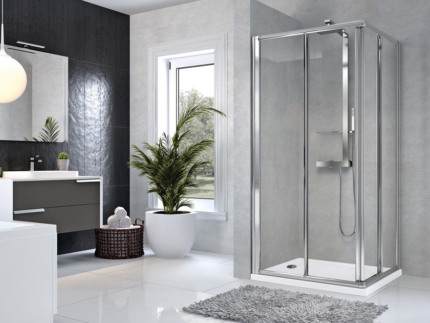 Corner shower cabin with sliding door STAR A by NOVELLINI