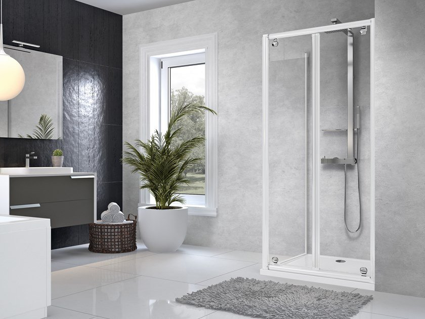 Corner shower cabin with hinged door STAR B+F by NOVELLINI