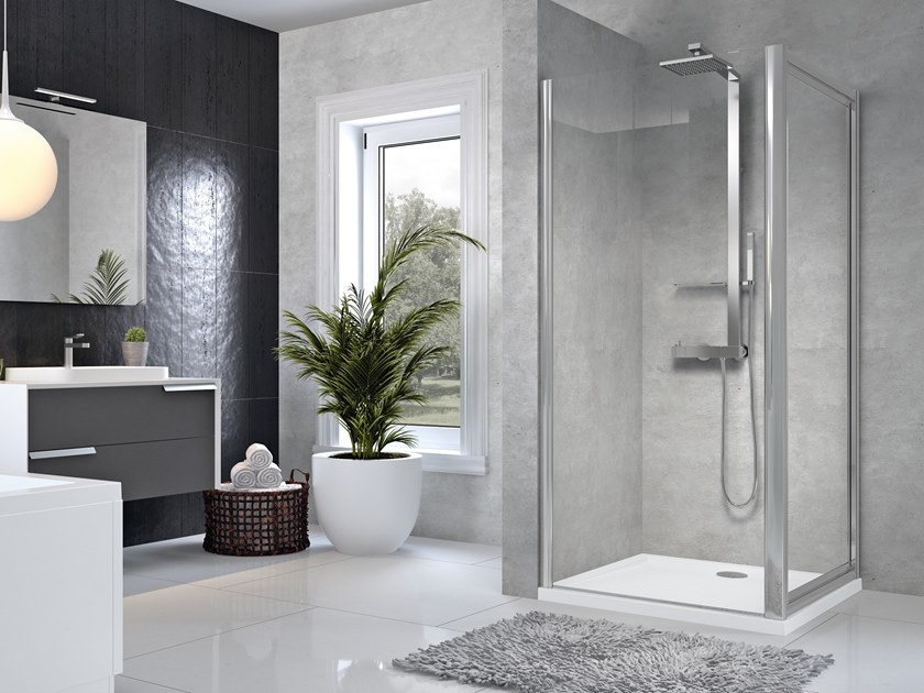 Corner shower cabin with hinged door STAR F by NOVELLINI