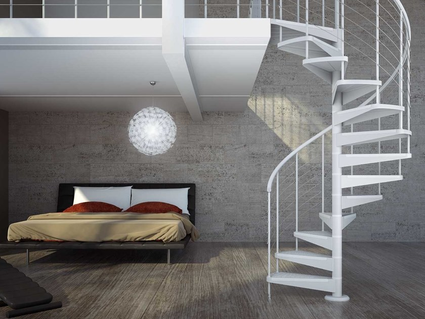 Modular steel Spiral staircase STAR FX by MOBIROLO