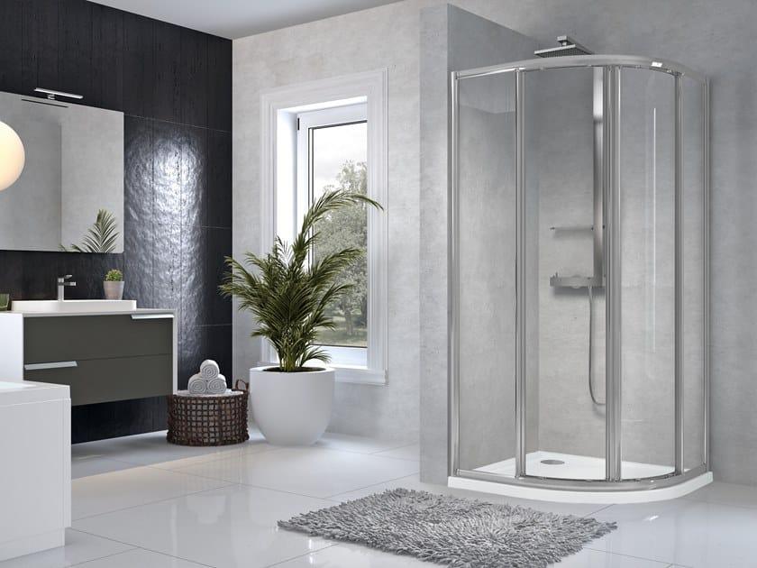 Corner semicircular shower cabin with sliding door STAR R by NOVELLINI