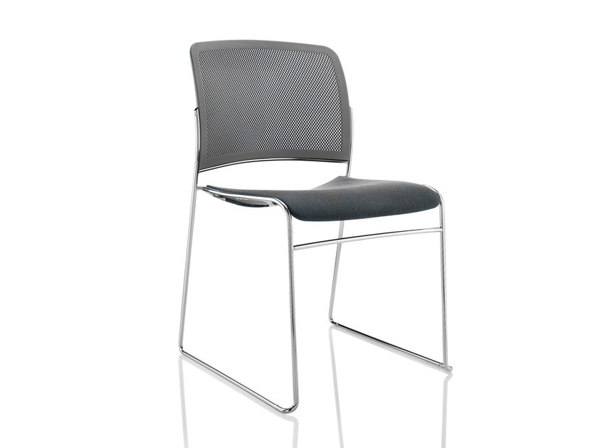 Sled base upholstered stackable chair STARR   Upholstered chair by Boss Design