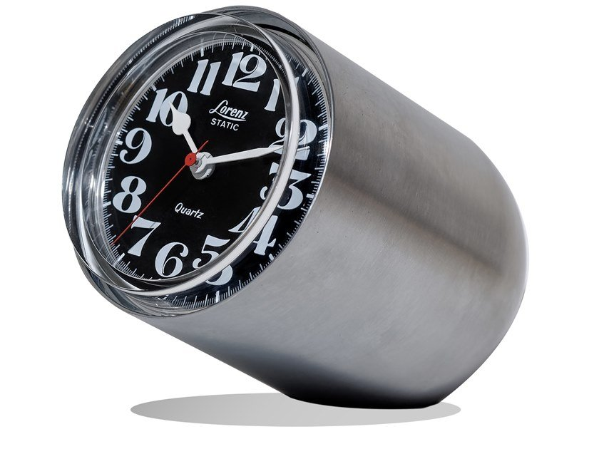 Orologio da tavolo in acciaio satinato STATIC | Orologio in acciaio satinato by Lorenz