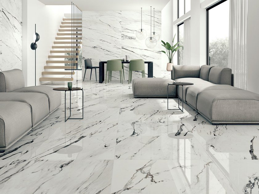 Ceramic wall/floor tiles with marble effect STATUARIO PLUS By Museum