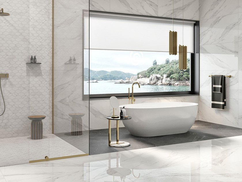 Porcelain stoneware wall/floor tiles with marble effect STATUARIO WHITE by Revigrés