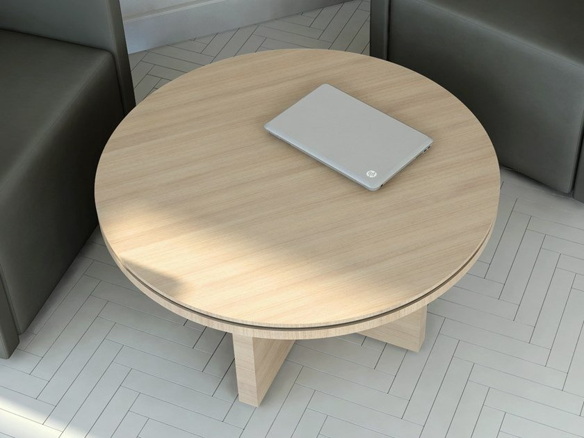 Round melamine-faced chipboard coffee table STATUS | Coffee table by MDD
