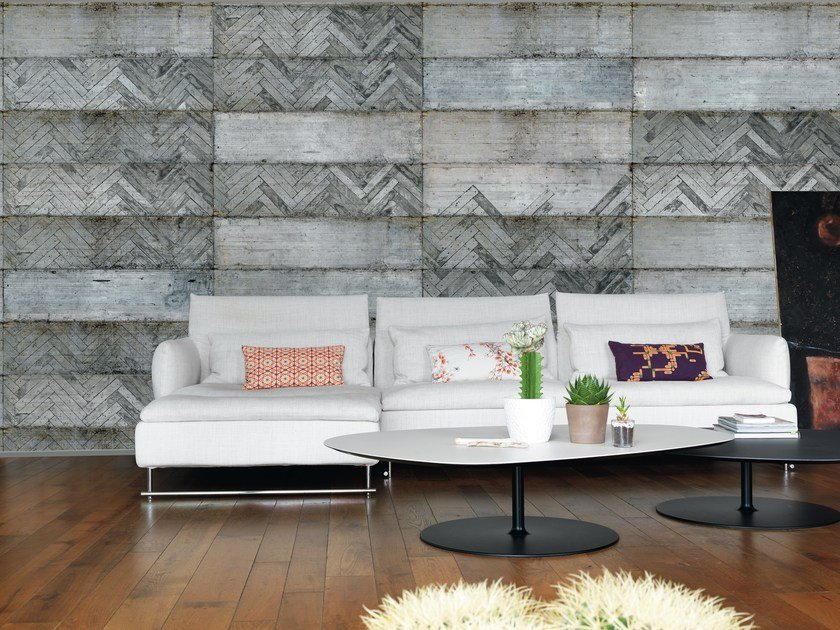 Geometric panoramic wallpaper with concrete effect STAVE by Inkiostro Bianco