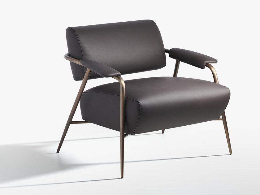 Leather armchair with armrests STAY by Potocco