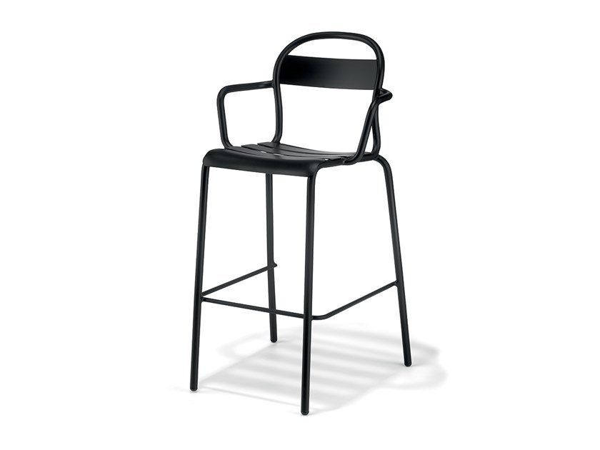 High stackable plate stool with armrests STECCA 6 by COLOS