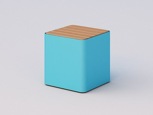 Steel and wood outdoor chair CUBIK | Steel and wood outdoor chair by DIMCAR