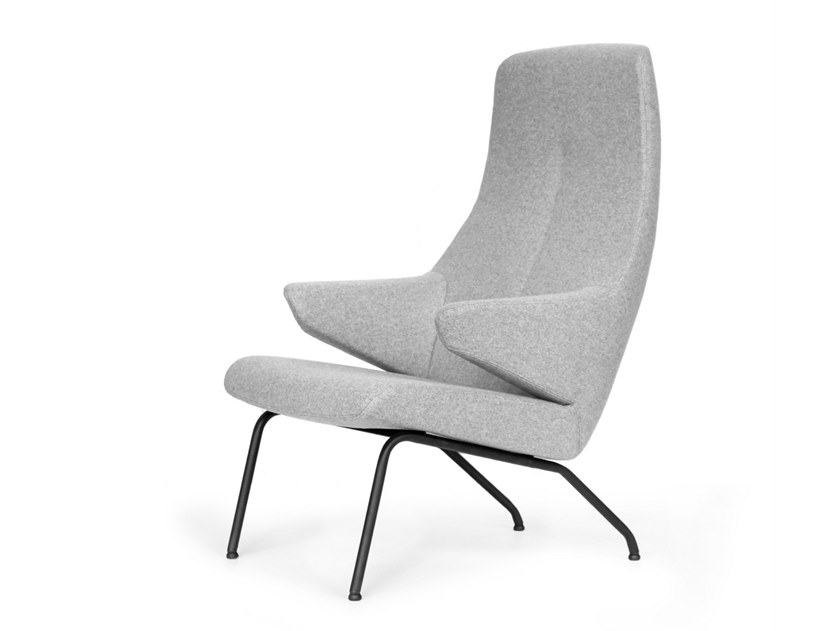 Upholstered fabric armchair with armrests VOOG | Steel armchair by OOT OOT