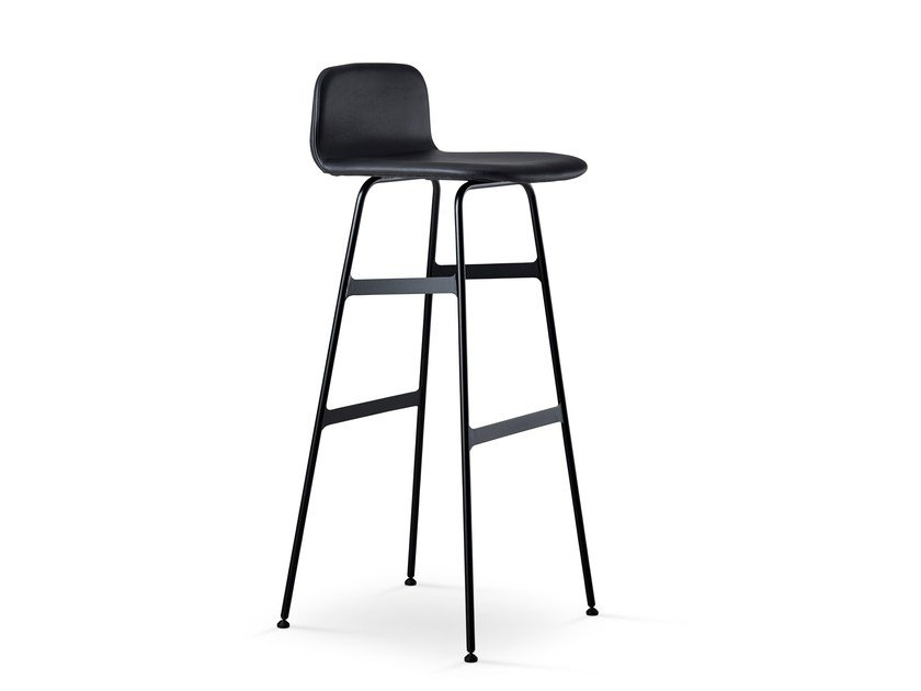 High upholstered stool STEEL COPILOT BAR STOOL by dk3