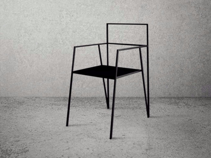 Steel chair with armrests STEEL FRAME | Chair by Baltic Promo