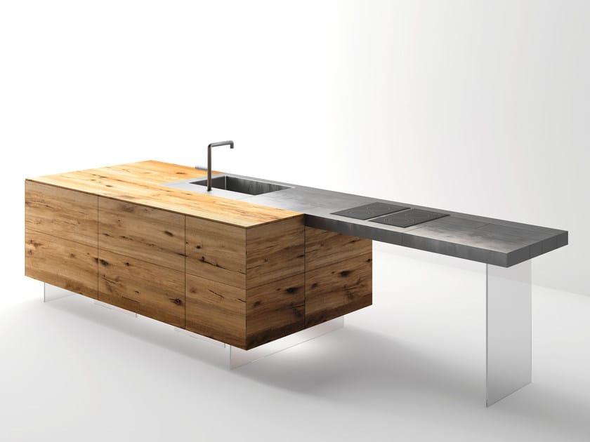 Top cucina / tavolo a penisola in acciaio e legno STEEL+ by Lago
