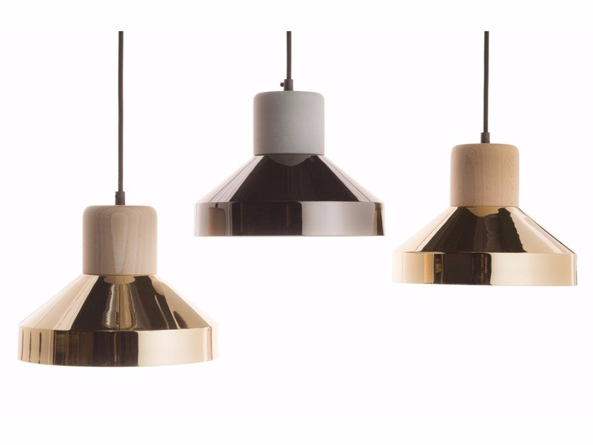 Direct light pendant lamp STEEL WOOD LAMP 240 LUXE by Specimen Editions