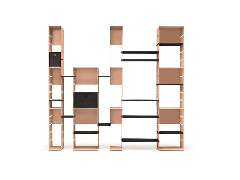 Open freestanding modular steel bookcase STEELBOX by Midj