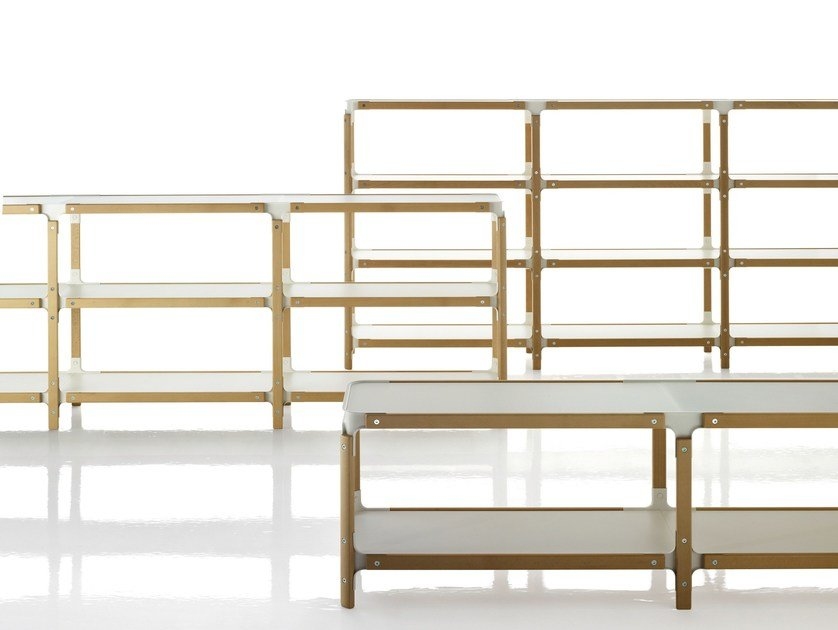 Double-sided sectional wooden bookcase STEELWOOD | Bookcase by Magis