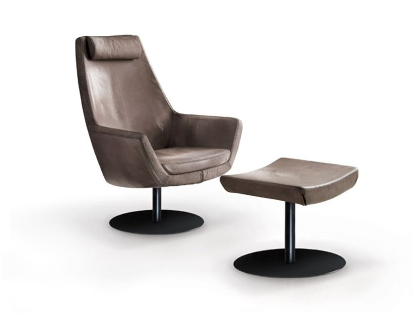 Leather armchair with armrests STELLA A by Oliver B.