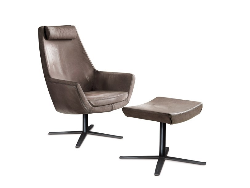 Leather armchair with 4-spoke base with armrests STELLA B by Oliver B.