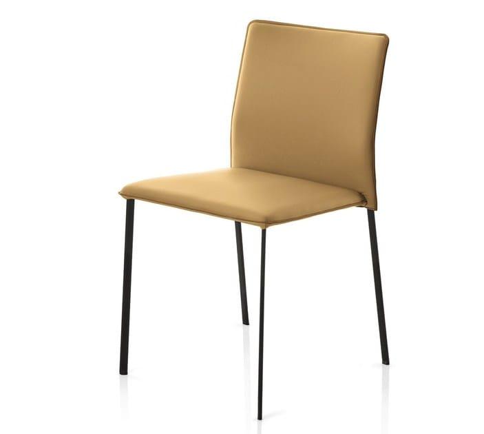 Sedia ergonomica imbottita impilabile in pelle STELLA