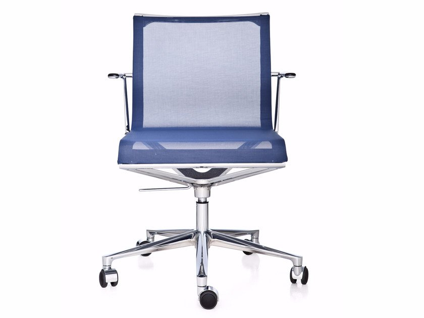 Swivel mesh task chair with 5-Spoke base with armrests STICK CHAIR ATK 4-5 STAR BASE | Mesh task chair by ICF