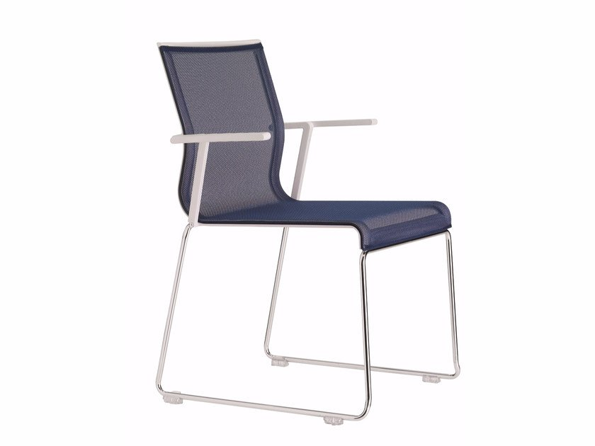 Sled base stackable mesh chair with armrests STICK STK SKID BASE | Stackable chair by ICF