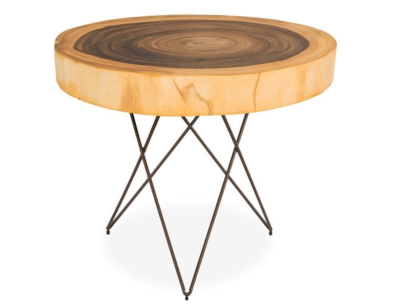 Round Suar wood coffee table STOCKHOLM by CONTE CASERTA
