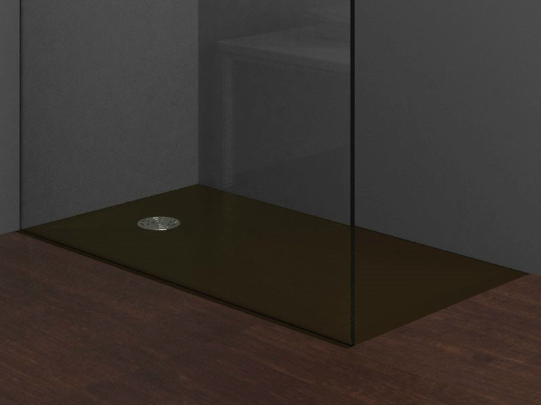 Flush fitting rectangular shower tray STONE BROWN by Alice Ceramica