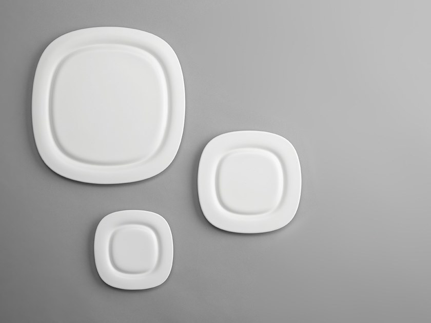 Square porcelain dinner plate STONE | Square plate by ZENS Lifestyle